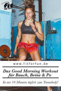 Mit dem Workout von Fitness-Expertin Lea trainierst du deinen Körper ganz gezielt. Schon 10 Minuten täglich reichen. So macht Frühsport Spaß und lässt die Pfunde purzeln. #abnehmen #fitness #fitnessübungen
