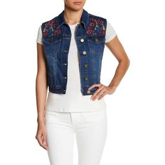 Romeo & Juliet Couture Embroidered Denim Vest ($40) ❤ liked on Polyvore featuring outerwear, vests, dk denim, white denim vest, white sleeveless vest, sleeveless vest, vest waistcoat and sleeveless denim vest