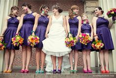 Dessy's alfred sung dresses and colorful wedding shoes, fun colored wedding shoes, wedding shoe inspiration, purple bridesmaids dress, colorful wedding flowers. Dresses by Purple Bridesmaid Dresses, Bridesmaid Shoes, Wedding Bridesmaids, Wedding Dresses, Purple Dress, Bridesmaid Color, Bridesmaid Bouquets, Party Dresses, Colorful Wedding Shoes