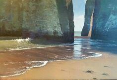 Sea Stacks, Botany Bay, Broadstairs, Kent. Acrylic painting