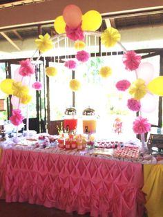 Sophia and Olivia's juice bar and dessert table