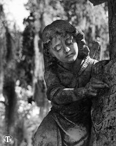 Guardian Angel Statue, Bonaventure Cemetery Savannah, Georgia, Black and White, Sorrow, Peaceful, Memorial, Oddity, Fine Art Photography