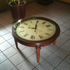 Iu0027m Thinking I Could Make This Coffee Table  Buy Some Legs At A Hard Ware  Store And Find A Big Clock.