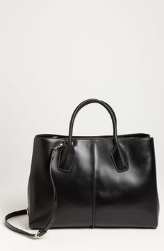 $1,665, Black Leather Tote Bag: Tod's D Styling Lavoro Leather Tote Nero Black. Sold by Nordstrom. Click for more info: https://lookastic.com/women/shop_items/138273/redirect