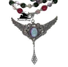Necklace women choker Angels wings chrome