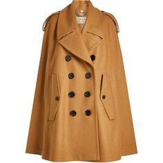 Burberry Wool Cape (€1.425) ❤ liked on Polyvore featuring outerwear, camel, burberry cape, woolen cape, camel wool cape, cape coat and wool capes