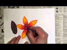Oil Pastel Tutorial - Techniques for Drawing a Leaf and a Flower - YouTube