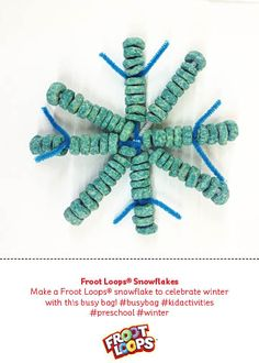 Make a Froot Loops® snowflake to celebrate winter with this busy bag! #busybag #kidactivities #preschool #winter