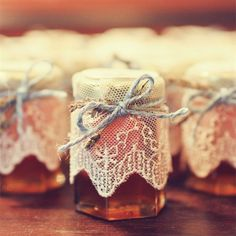 Honey Wedding Favors. Cover tops with lace scraps or hankies from Thrift store.