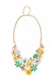 Surrey Floral Necklace in Teal, Francesca's Collections, $24