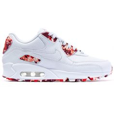 Nike White London Air Max 90 Sweets Trainers ($145) ❤ liked on Polyvore featuring shoes, sneakers, nike, laced shoes, lacing sneakers, nike trainers, round cap and laced sneakers