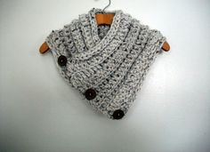 Button scarf Hand Crochet Cowl with handmade wood by RuehLoo, $42.99