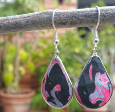 """Black, Pink, and Blue Modekka Earrings by TheArtisanStudios  Use coupon code """"FIRST10"""" to get a 35% off discount as a thank you for being one of our first customers!"""