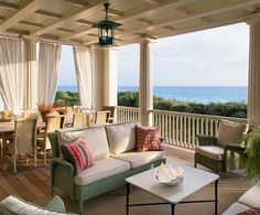 Porch - Design photos, ideas and inspiration. Amazing gallery of interior design and decorating ideas of decks/patios, porches by elite interior designers. Architectural Digest, Outdoor Rooms, Outdoor Living, Outdoor Furniture Sets, Outdoor Decor, Wicker Furniture, Outdoor Curtains, Indoor Outdoor, Outdoor Seating