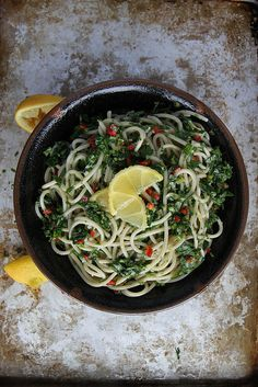 Lemony Pasta: pasta, garlic, shallot, lemon, olive oil, parsley, one chill pepper