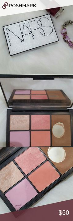 Nars pallette Virtual domination cheek palette includes Miss Liberty highlighting blush powder deep throat blush Laguna bronzing powder sex fantasy blush and Final Cut blush the only thing that was used heavily was the bronzing powder which is amazing the blushes are lightly swatched one is cracked NARS Makeup Bronzer