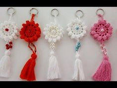 How To Crochet A Rose: Easy Crochet lessons to crochet flowers part Marque-pages Au Crochet, Mandala Au Crochet, Crochet Motifs, Crochet Gifts, Crochet Flowers, Crochet Patterns, Easy Crochet, Crochet Keychain Pattern, Crochet Bookmarks