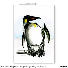 Blank Greeting Card: Penguin Drawing Greeting Card