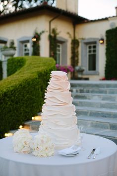 Ruffled Ombre Wedding Cake | Charm City Cakes West | Tory Williams Photography | TheKnot.com