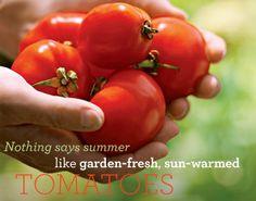 Mmmmm.  Fresh tomatos from the garden. Perfect for garden fresh salads. ~REB