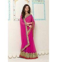 Pink Banarasi Gota Silk Printed With Embroidery Lace Border Saree