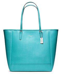 COACH SAFFIANO LEATHER MEDIUM NORTH/SOUTH TOTE - COACH - Handbags & Accessories - Macy's