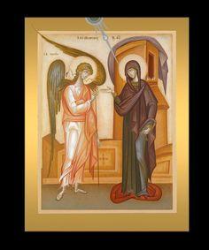 Annunciation by George Kordis Byzantine Icons, Byzantine Art, Religious Icons, Religious Art, Lucas 1 26 38, Saint Gabriel, Roman Church, Paint Icon, Russian Icons
