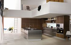 Elegant-Modern-Contemporary-Decorating-Ideas-For-Open-Kitchen-With-Futuristic-Cupboard-Finish