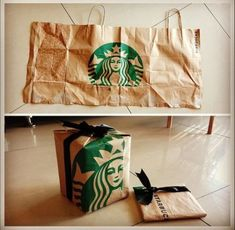 Thought I would reuse the Starbucks paper bag to wrap some Christmas presents. Starbucks Crafts, Starbucks Christmas, Starbucks Gift Ideas, Starbucks Birthday Party, Diy Birthday, Birthday Gifts, Cool Gifts, Diy Gifts, Christmas Presents