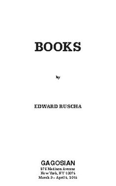 Catalogue for exhibition of Ed ruscha first edition at Gagosian