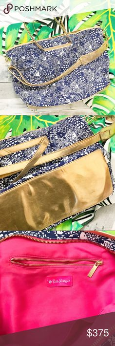 """RARE NWOT Lilly Pulitzer """"Upstream"""" Weekender Bag Limited edition Lilly Pulitzer for Target collection weekender bag. Spacious and stylish, perfect for your next weekend getaway!  Exterior is the """"Upstream"""" print with blue and white fish pattern.  Features two metallic gold tone handles and long adjustable cross-body strap.   Interior is pink  Like new condition! Mild scuffing to the bottom due to sitting in the closet.  other search terms: crossbody duffel, cross body tote, duffle Lilly…"""