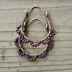 Ruffle Bottom Hoops  wire wrapped antiqued by BearRunOriginals,