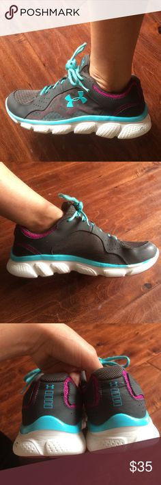 Women's under Armour Used Women's under Armour running shoes. Dark gray and light blue with purple and white accents. Size 8 Under Armour Shoes Athletic Shoes