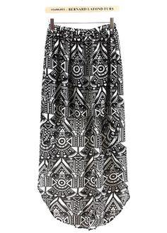 Black and White Geometric High-low Skirt -