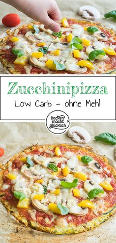 Low carb zucchini pizza without batter Low Sugar Recipes, Healthy Low Carb Recipes, Low Carb Dinner Recipes, No Sugar Foods, Gourmet Recipes, Gourmet Foods, Low Fat Low Carb, Low Carb Pizza, Low Carb Diet