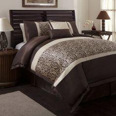 Triangle Home Fashions 18504 Lush Decor 6-Piece Zebra Comforter Set, Full-Size, Taupe/Brown