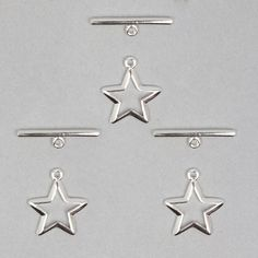 925 Sterling Silver Shining Star Toggle Clasp Approx Tog 14mm Bar &21mm (3pack)