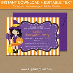 Printable Halloween Invitation Template With Witch By