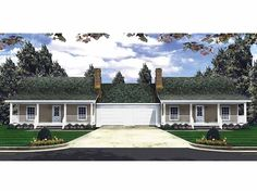 Eplans Country House Plan - Duplex Design with Privacy Built-In - 2400 Square Feet and 2 Bedrooms(s) from Eplans - House Plan Code HWEPL14070