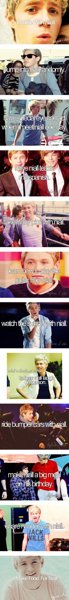 Oh yeah this is like my life played out. It should start with bump into niall randomly tho...then from there we end with get married and live hapily ever after! =D