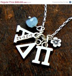 Alpha Delta Pi Jewelry, ADP, Sorority, Greek Personalized, College, Sorority Sister, Fraternity, Alumni, Sterling Silver, Gift for Her, GL10...