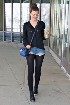 New how to wear leggings with shorts black tights 28 Ideas Stockings Outfit, Pantyhose Outfits, Tights Outfit, How To Wear Leggings, Shorts With Tights, Denim Shorts, Dress With Tights, Outfits With Tights, Black Leggings