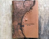 Leather Journal | Laser Etched | Milwaukee Map | Light Brown Large