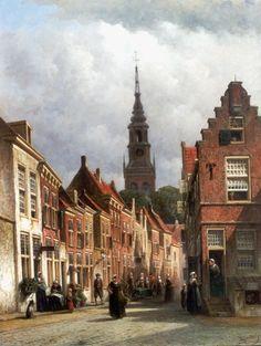 Petrus Gerardus Vertin Den Haag 1819-1893 Stadsgezicht in Haarlem met de Nieuwe Kerk,