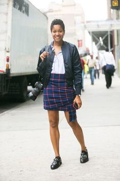 Proof you can wear menswear flats with a mini skirt