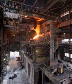 Industrial Machinery, Steel Mill, 40k Terrain, Industrial Photography, Slums, Digger, Mechanical Engineering, Modern Buildings, Volcano