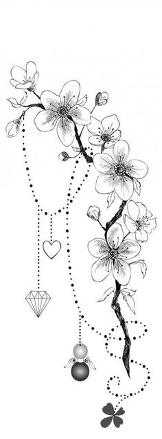 37 trendy floral tattoo back cherry blossom ideas for drawing . - 37 trendy floral tattoo back cherry blossom ideas for drawing flower tattoos - Tatoo Flowers, Delicate Flower Tattoo, Vintage Flower Tattoo, Flower Tattoo Back, Small Flower Tattoos, Vintage Tattoos, Flower Tattoo Shoulder, Small Tattoos, Drawing Flowers