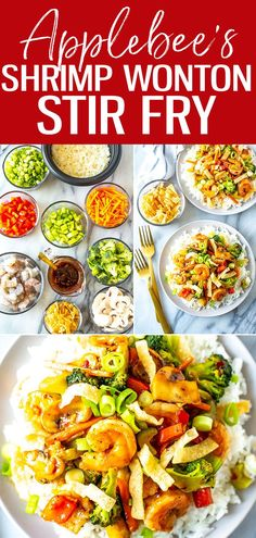 This Shrimp Wonton Stir Fry is an Applebee's copycat filled with veggies tossed in a sweet and spicy sauce, served over rice