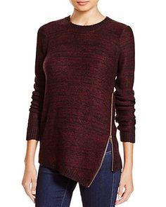 AQUA Asymmetric Zip Crewneck Sweater | Bloomingdale's