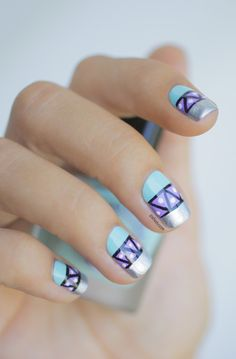 Striped Color Block nail art: three color colour design: light neon pastel blue (Lime Crime), lilac lavender purple (Nfu Oh Mor07) and silver (A-England Excalibur) with black stipes and white dots #geometric #easy #spring #summer #pastels 2013 #nailart #manicure #tribal #ethnic #colorblock #colourblock | #Pshiiit